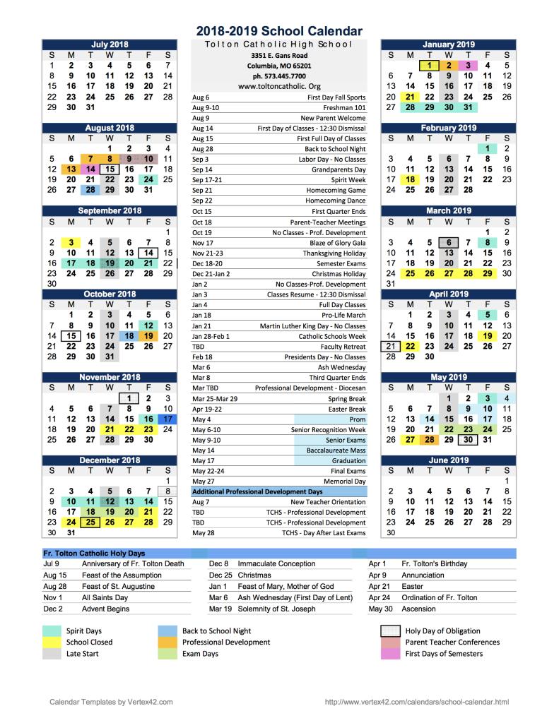 tchs general calendar 2018 19
